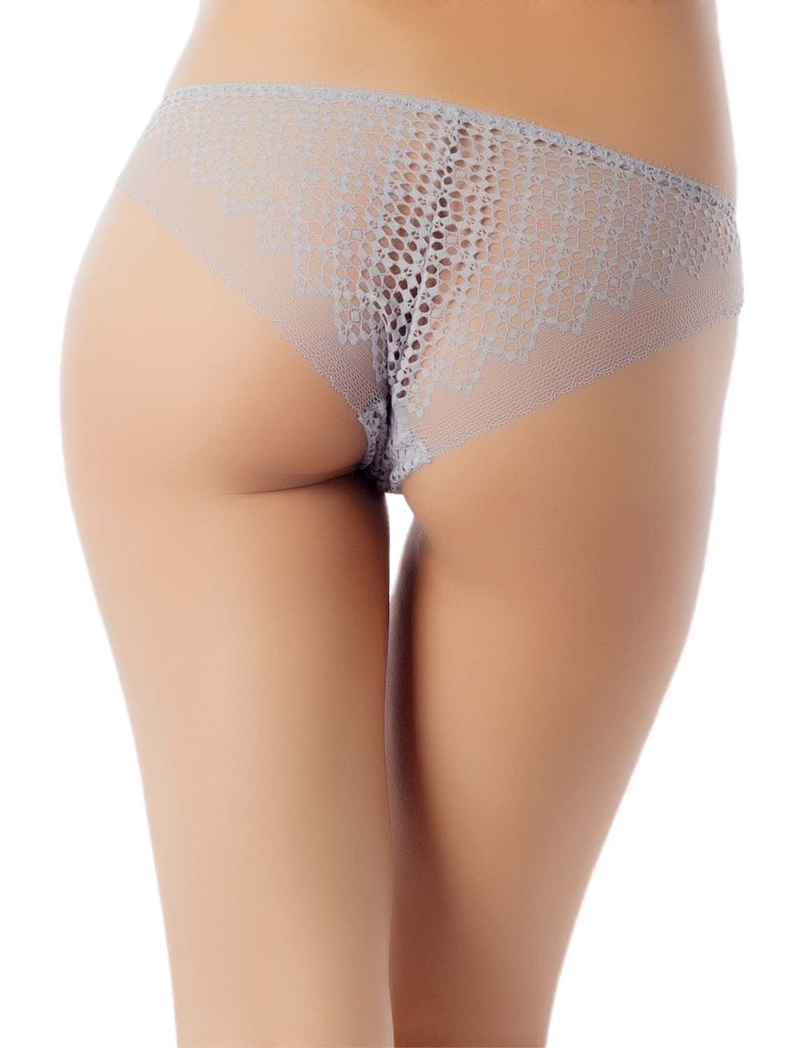 Women's See-Through Sheer Sexy Laces Cotton Comfort Low Rise Brief Panty, Size: L, Light Grey