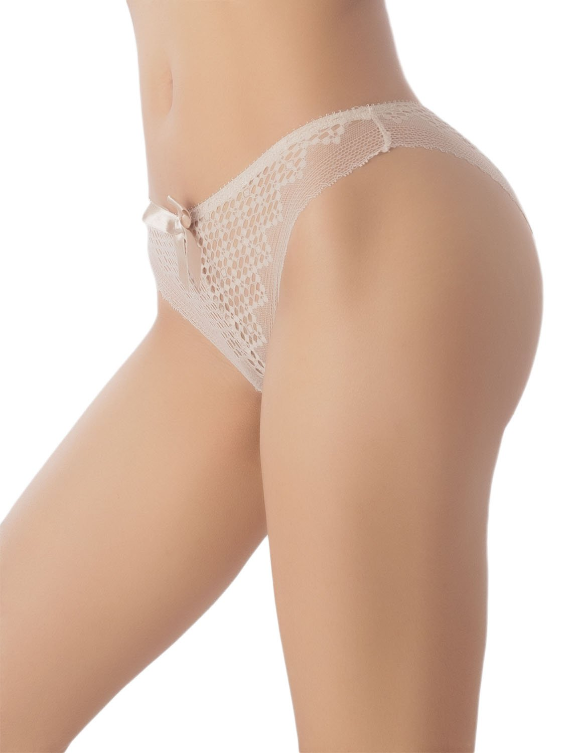 Women's See-Through Sheer Sexy Laces Cotton Comfort Low Rise Brief Panty, Size: L, Off White