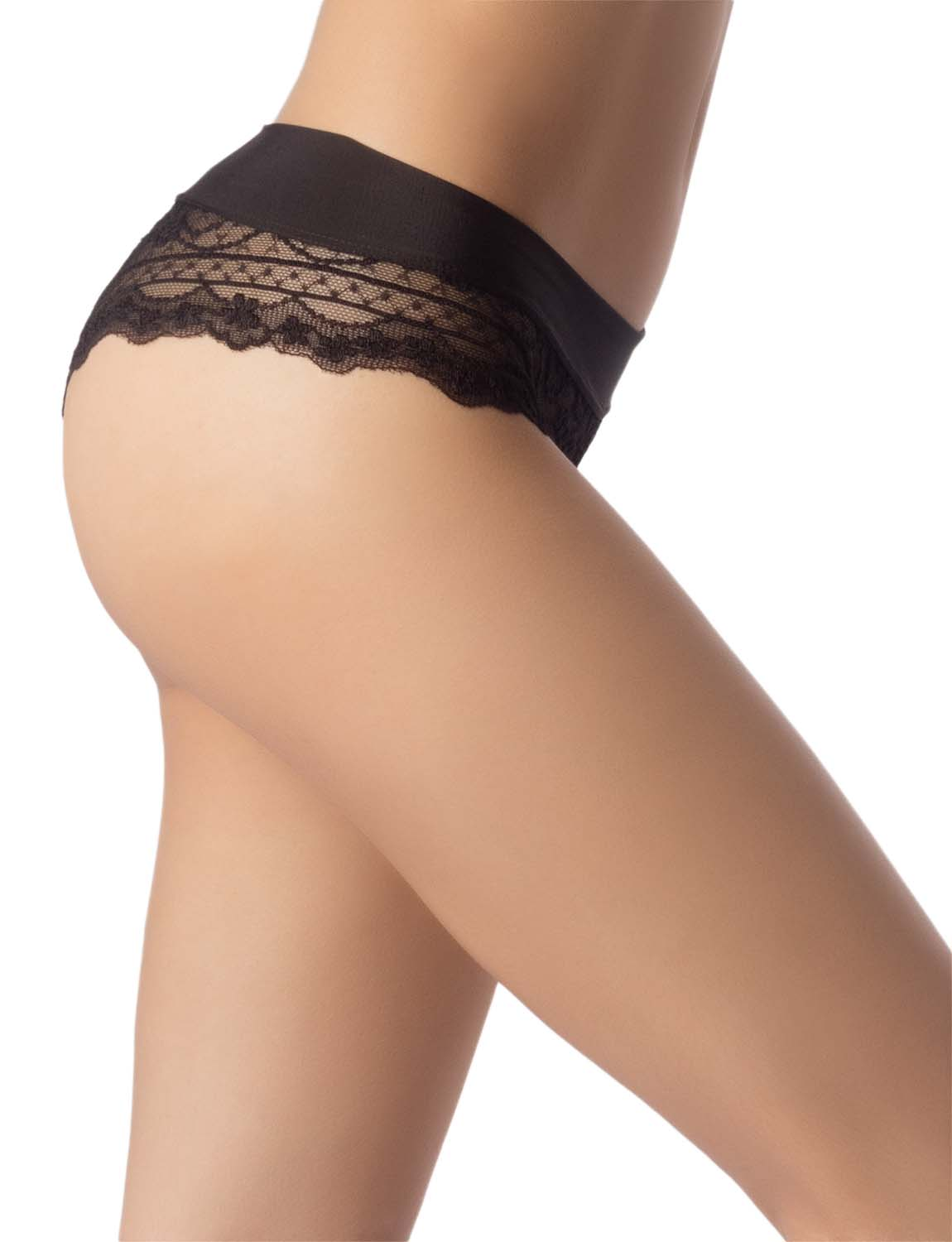 Women's Wide Band Lace Mesh See-Through Breathable Low Rise Hipster Panty, Size: L, Black
