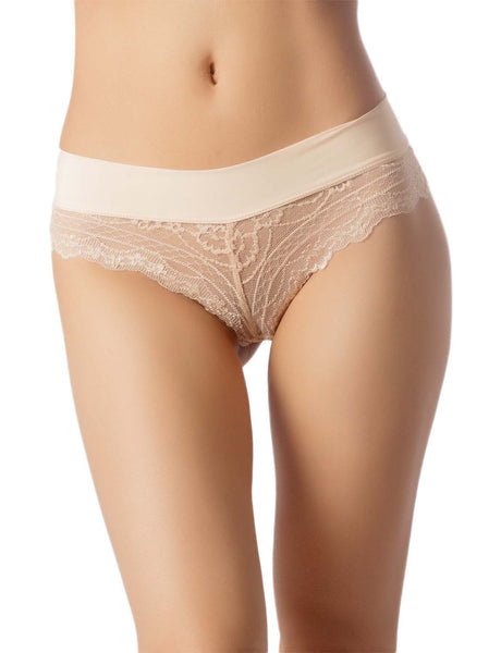 Women's Wide Band Lace Mesh See-Through Breathable Low Rise Hipster Panty, Size: L, Light Yellow