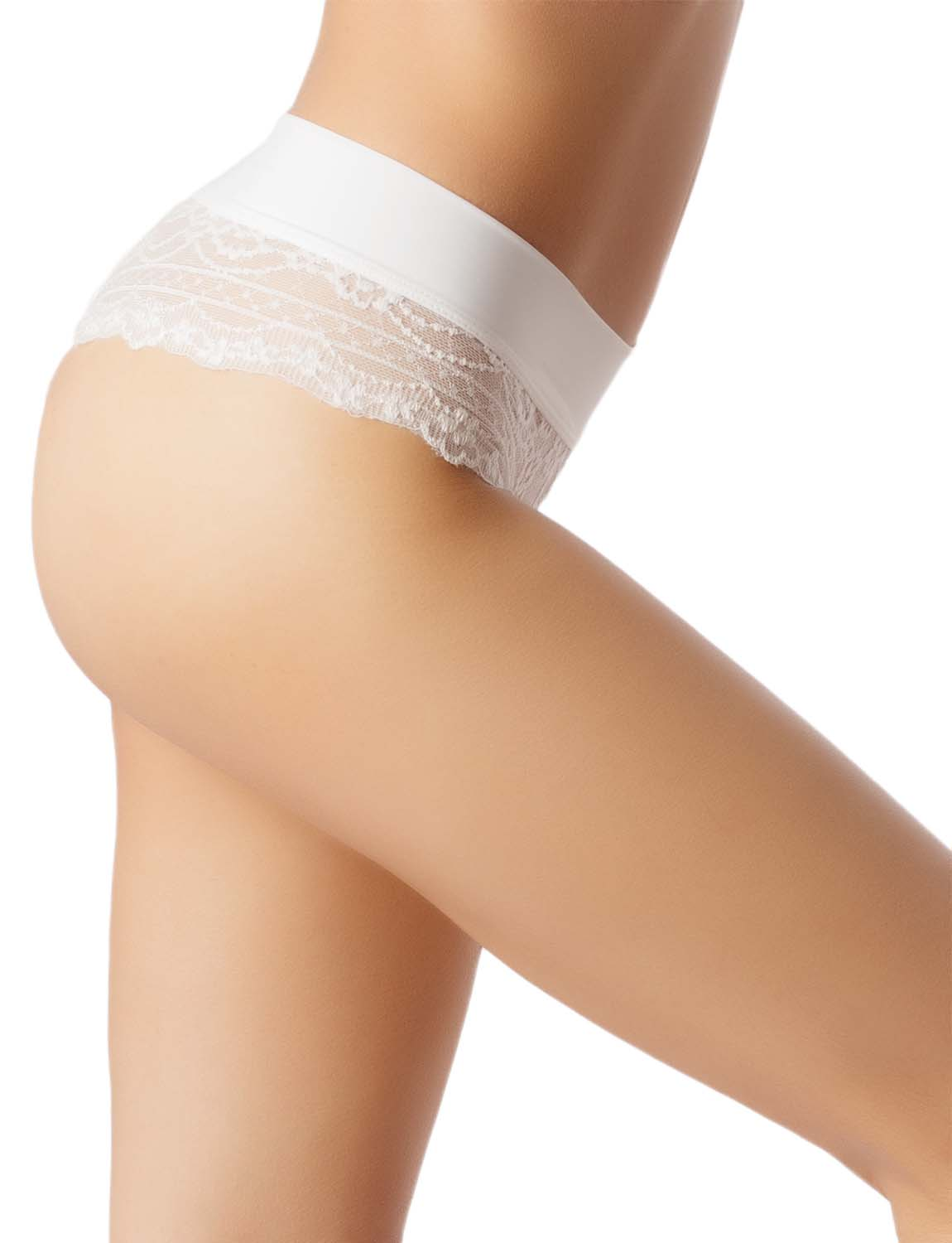 Women's Wide Band Lace Mesh See-Through Breathable Low Rise Hipster Panty, Size: L, White