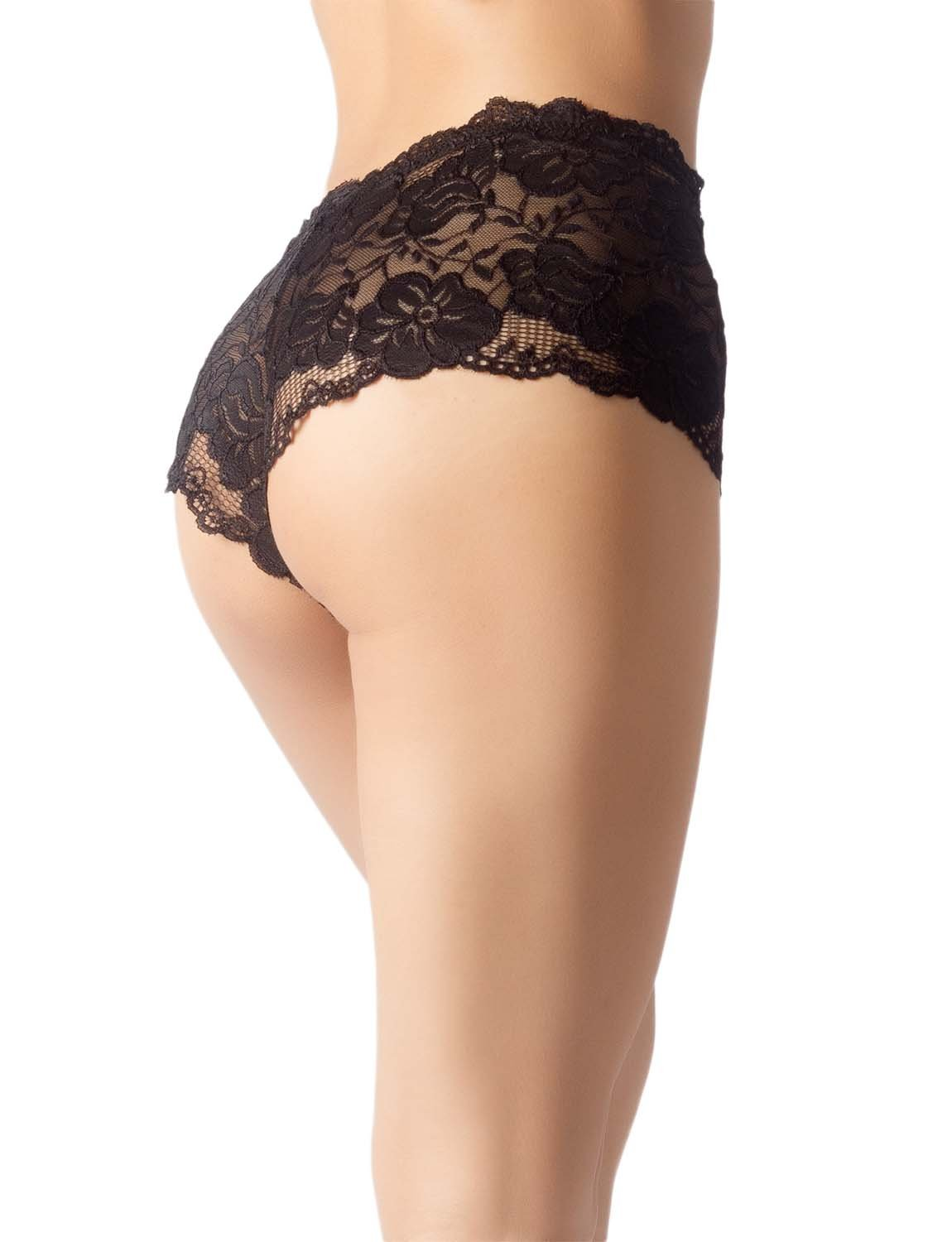 Women's Lace Mesh See-Through Breathable Underwear Low Rise Hipster Panty, Size: 2XL, Black