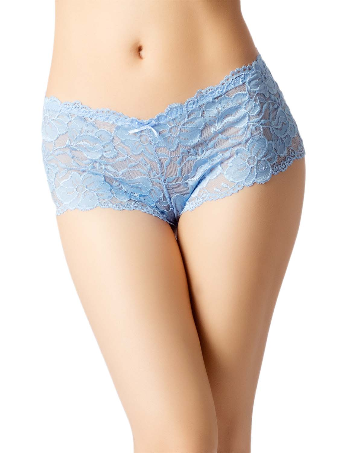 Women's Lace Mesh See-Through Breathable Underwear Low Rise Hipster Panty, Size: 2XL, Turquoise