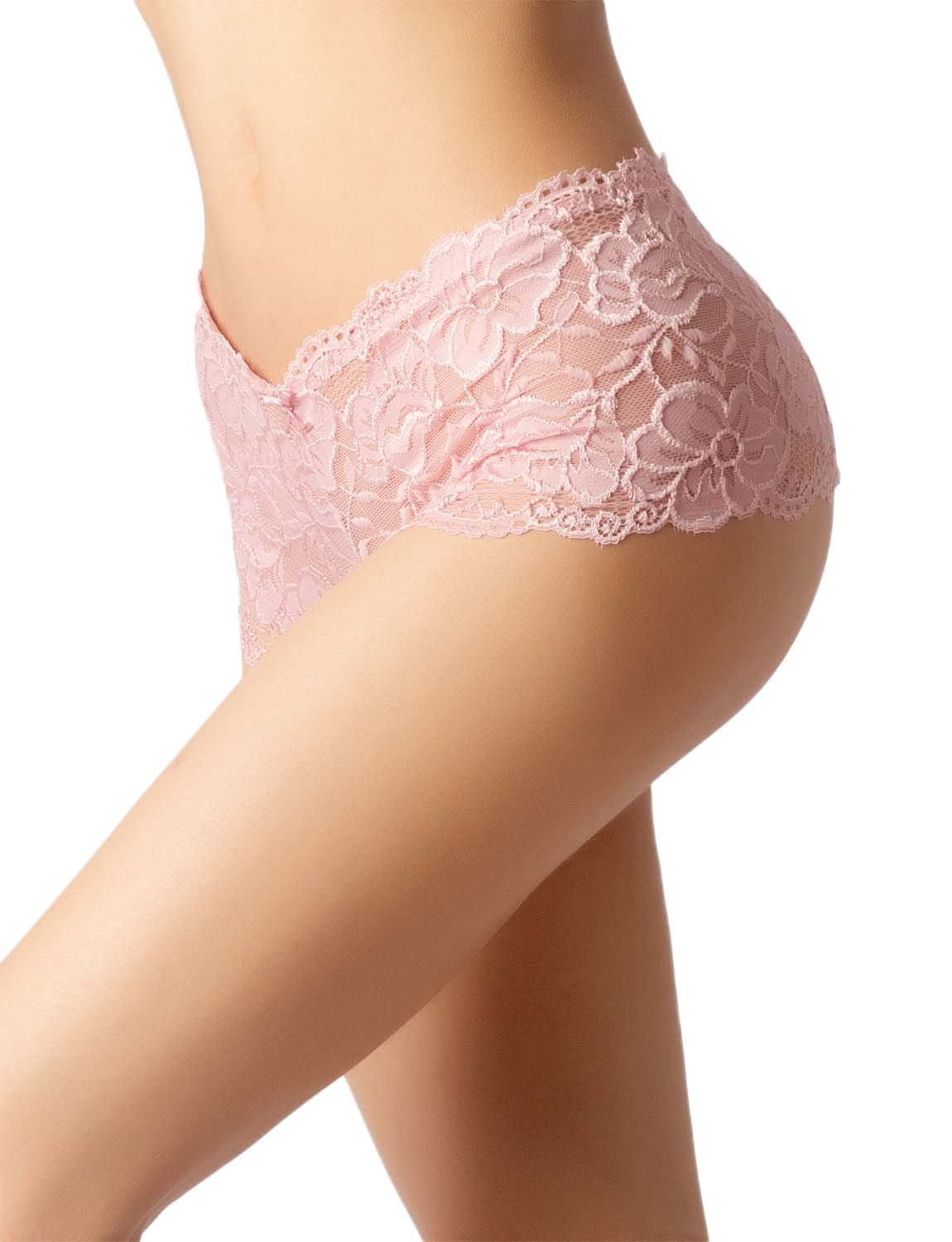 Women's Lace Mesh See-Through Breathable Underwear Low Rise Hipster Panty, Size: 2XL, Pale Pink