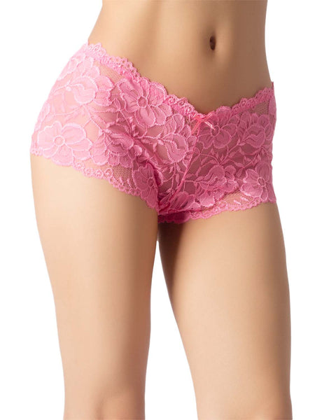 Women's Lace Mesh See-Through Breathable Underwear Low Rise Hipster Panty, Size: 2XL, Hot Pink