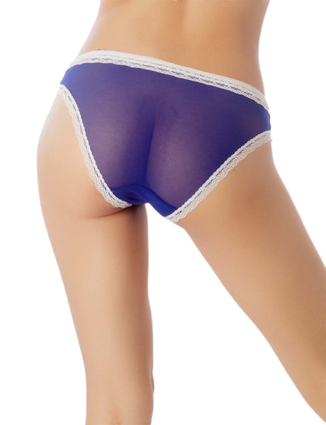 Women's Cotton Layered Lace Trimmed See-Through Mesh Low Rise Bikini Panty, Size: L, Royal