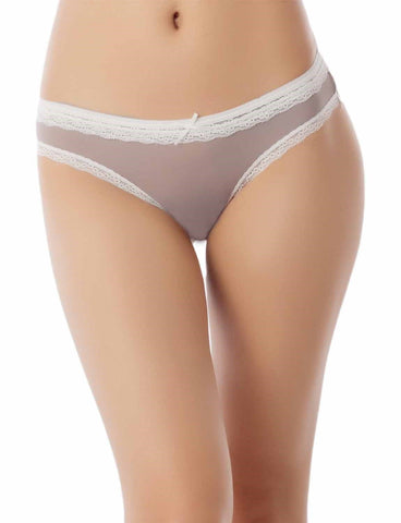 iB-iP Women's Cotton Layered Lace Trimmed See-Through Mesh Low Rise Bikini Panty