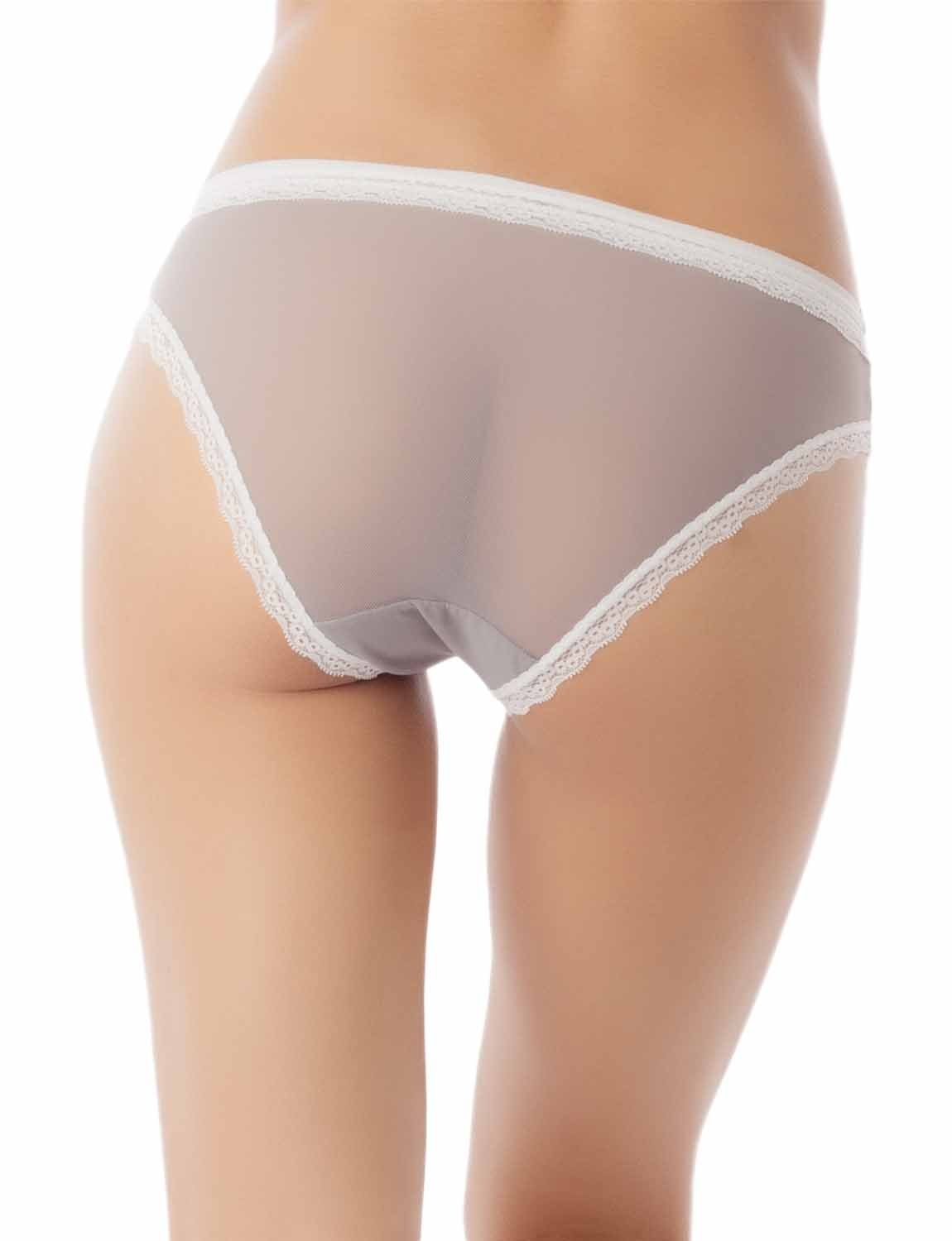 Women's Cotton Layered Lace Trimmed See-Through Mesh Low Rise Bikini Panty, Size: L, Light Grey