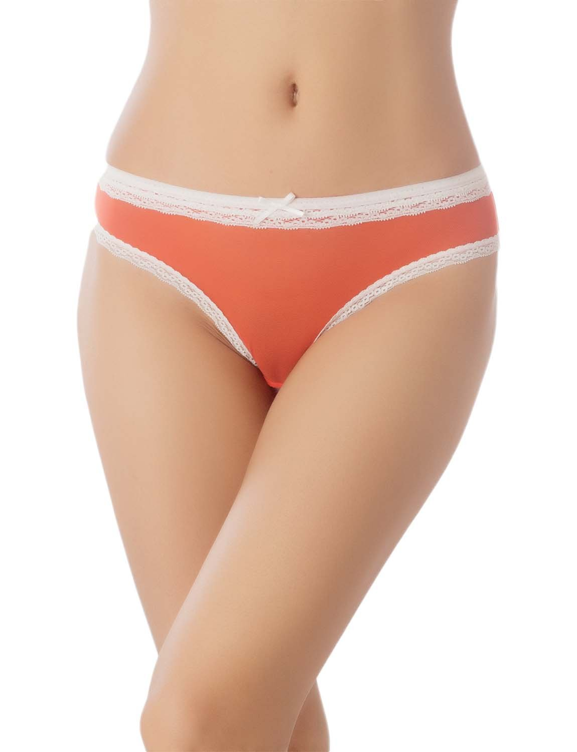 Women's Cotton Layered Lace Trimmed See-Through Mesh Low Rise Bikini Panty, Size: L, Coral