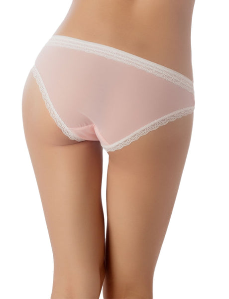Women's Cotton Layered Lace Trimmed See-Through Mesh Low Rise Bikini Panty, Size: L, Light Pink
