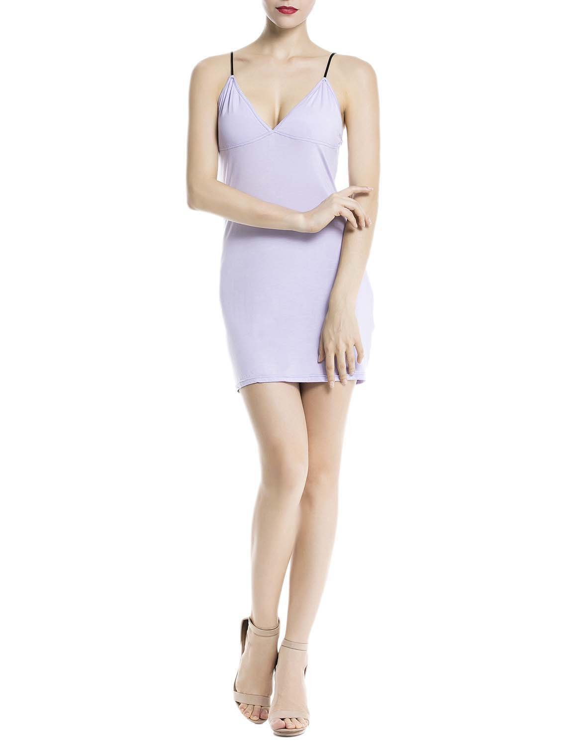 Women's Cotton Slips For Under Dress Spaghetti Strap Mid-Thigh Full Slip, Size: 2XL, Lilac