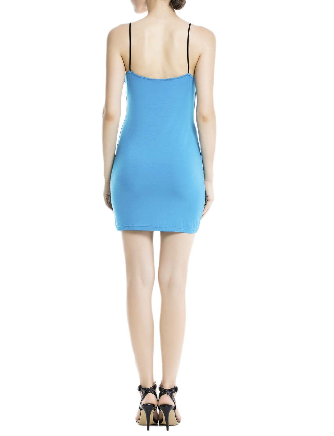 Women's Cotton Slips For Under Dress Spaghetti Strap Mid-Thigh Full Slip, Size: 2XL, Sea Blue