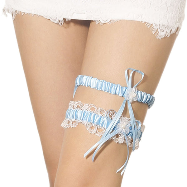 Women's Two Piece Lace Trimmed Satin Flower Ribbon Stylish Stretchy Garter, Size: One Size, Sea Blue