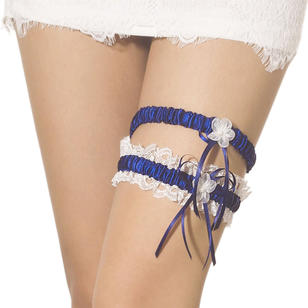 Women's Two Piece Lace Trimmed Satin Flower Ribbon Stylish Stretchy Garter, Size: One Size, Royal