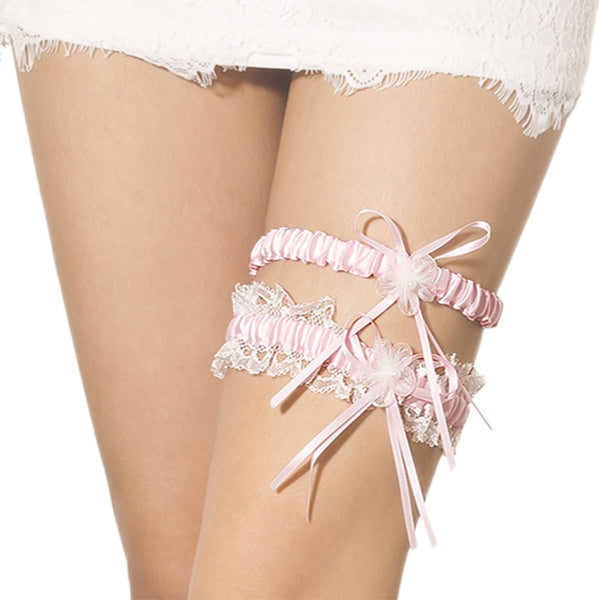 Women's Two Piece Lace Trimmed Satin Flower Ribbon Stylish Stretchy Garter, Size: One Size, Light Pi
