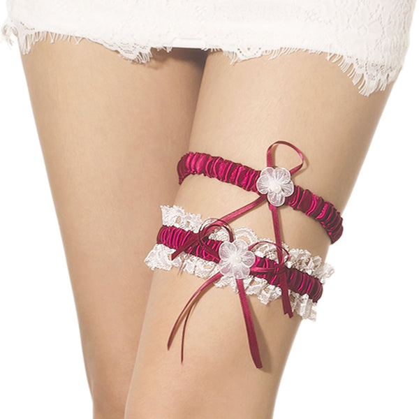 Women's Two Piece Lace Trimmed Satin Flower Ribbon Stylish Stretchy Garter, Size: One Size, Burgundy