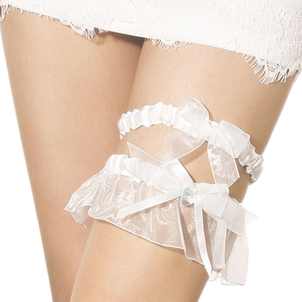 Women's Heart Two-Piece Wedding Bridal Bowknot Set Stylish Stretchy Garter, Size: One Size, White