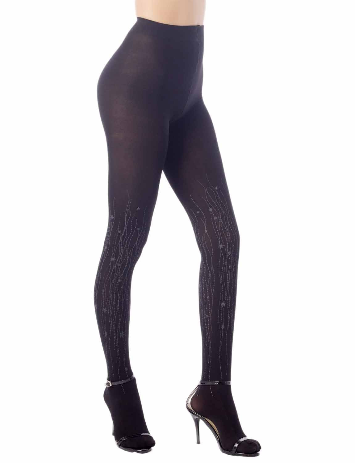Women's Hosiery Art Patterned Seamless 5 DEN Ultra Sheer Pantyhose Tights, Size: M-L, Black