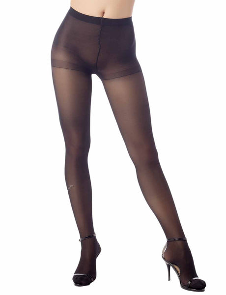 Women's Crystal Bowknot Ankle Seamless 5 DEN Ultra Sheer Tights Pantyhose, Size: M-L, Black