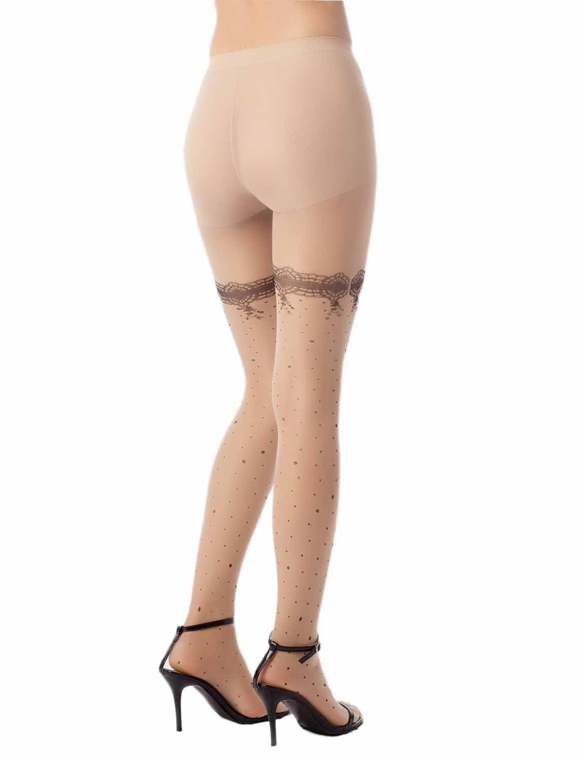 Women's Strap Lace Snowflakes Seamless 5 DEN Ultra Sheer Tights Pantyhose, Size: M-L, Cream