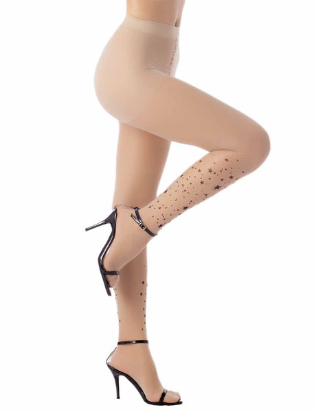 Women's Star Rhinestone Tattoo Seamless 5 DEN Ultra Sheer Tights Pantyhose, Size: M-L, Cream