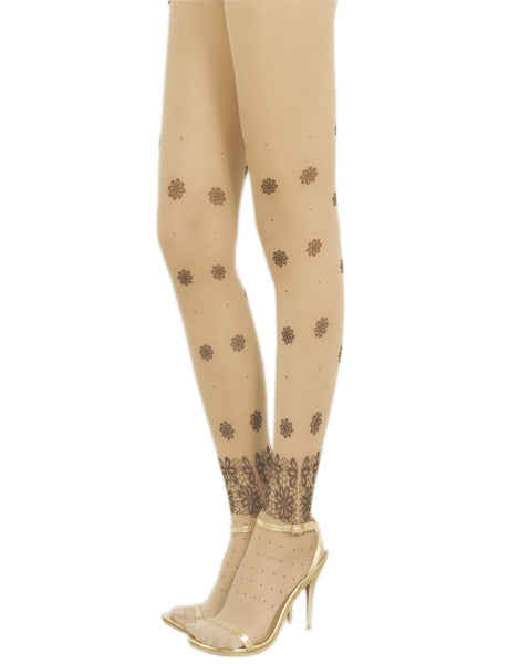 Women's Print Seamless Stylish Stocking 5 DEN Ultra Sheer Tights Pantyhose, Size: M-L, Cream
