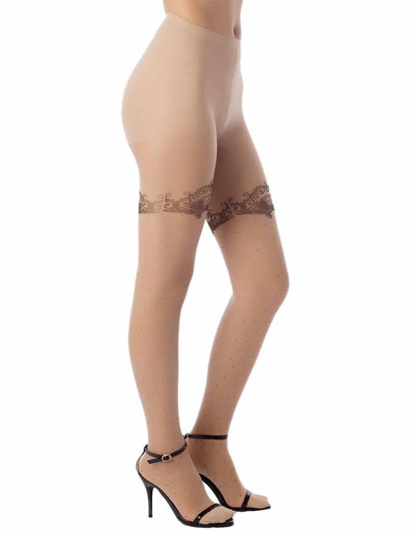 Women's Lace Polka Dots Prints Seamless 5 DEN Ultra Sheer Tights Pantyhose, Size: M-L, Cream