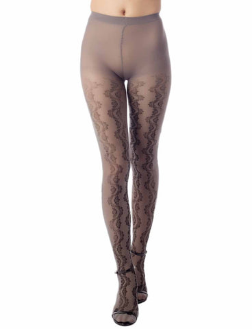 iB-iP Women's Wavy Snowflake Prints Seamless 5 DEN Ultra Sheer Tights Pantyhose