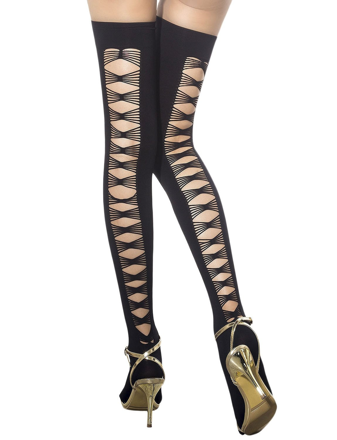 Women's Sexy Back Slashed Tied Ups Japanese Thigh High Hold-up Stockings, Size: One Size, Black