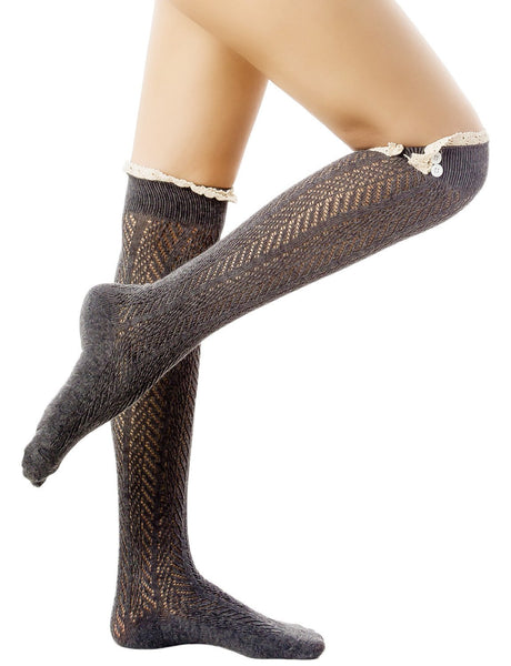 Women's Knitting Japanese Style Eyelet Lace Cuff Stitching Knee High  Socks, Size: One Size, Dark Gr