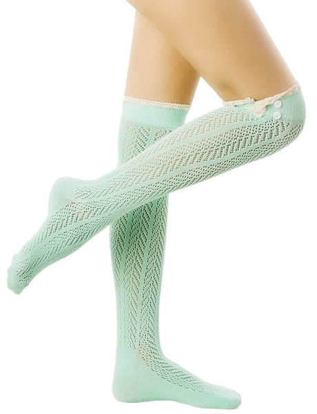 Women's Knitting Japanese Style Eyelet Lace Cuff Stitching Knee High  Socks, Size: One Size, Sea Gre