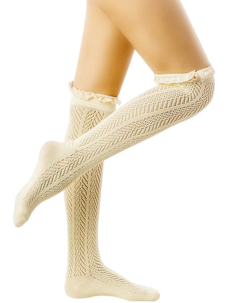 Women's Knitting Japanese Style Eyelet Lace Cuff Stitching Knee High  Socks, Size: One Size, Light Y