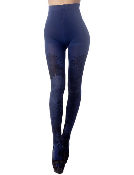 Women's Opaque Fairview Daisy Patterned Footed Thick Seam Pantyhose Tights, Size: One Size, Navy