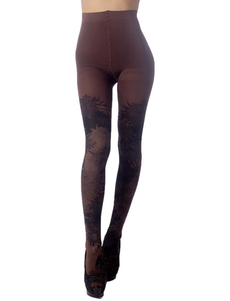 Women's Opaque Fairview Daisy Patterned Footed Thick Seam Pantyhose Tights, Size: One Size, Brown