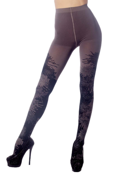 Women's Opaque Fairview Daisy Patterned Footed Thick Seam Pantyhose Tights, Size: One Size, Cool Gre