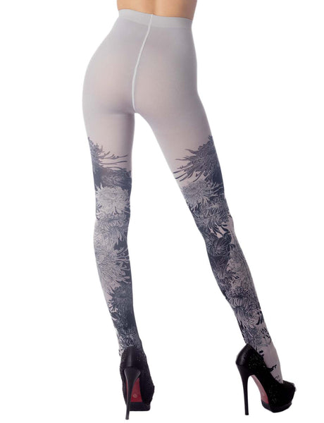 Women's Opaque Fairview Daisy Patterned Footed Thick Seam Pantyhose Tights, Size: One Size, Light Gr