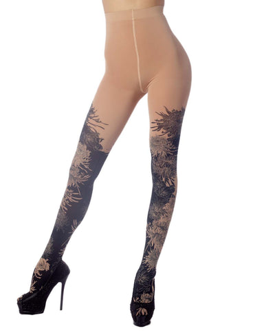 iB-iP Women's Opaque Fairview Daisy Patterned Footed Thick Seam Pantyhose Tights