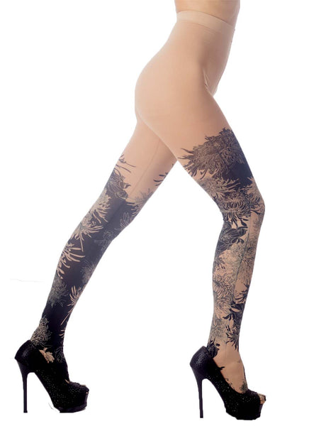 Women's Opaque Fairview Daisy Patterned Footed Thick Seam Pantyhose Tights, Size: One Size, Beige