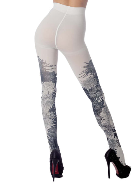 Women's Opaque Fairview Daisy Patterned Footed Thick Seam Pantyhose Tights, Size: One Size, White