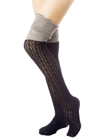 iB-iP Women's Knitting Thermal Stitching Cuffs Japanese Style Thigh High Socks