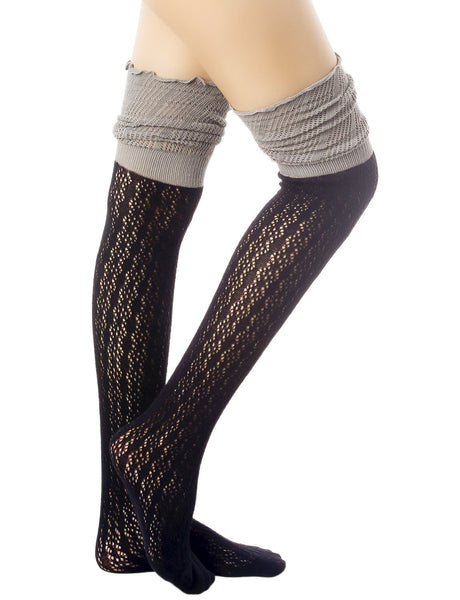 Women's Knitting Thermal Stitching Cuffs Japanese Style Thigh High Socks, Size: One Size, Black