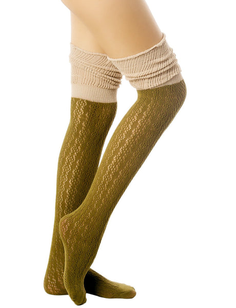 Women's Knitting Thermal Stitching Cuffs Japanese Style Thigh High Socks, Size: One Size, Olive