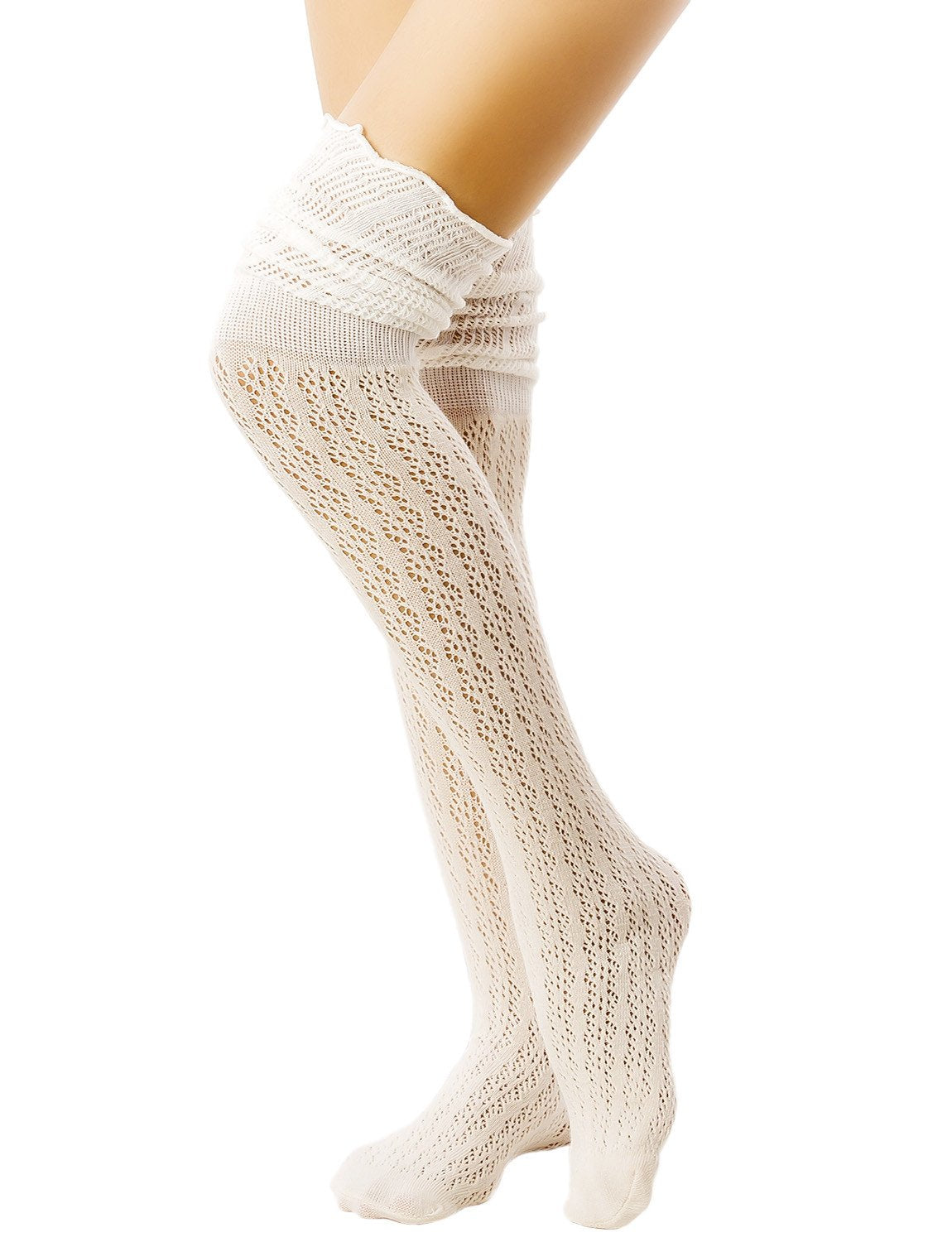 Women's Knitting Thermal Stitching Cuffs Japanese Style Thigh High Socks, Size: One Size, Beige
