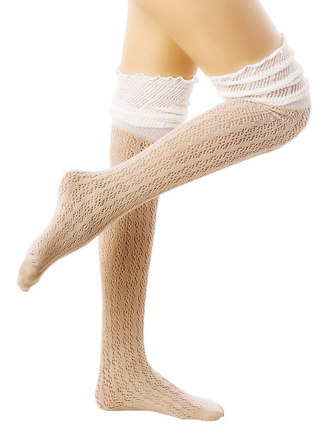 Women's Knitting Thermal Stitching Cuffs Japanese Style Thigh High Socks, Size: One Size, Light Taup