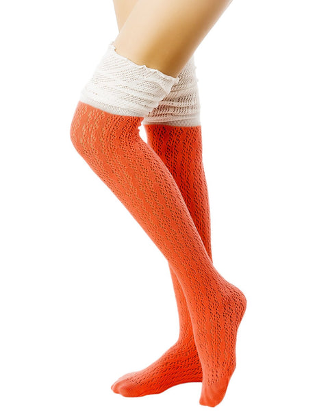 Women's Knitting Thermal Stitching Cuffs Japanese Style Thigh High Socks, Size: One Size, Coral