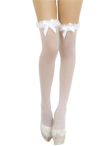 iB-iP Women's White Mesh Seamless Stylish Bow Sheer Thigh High Hold-up Stockings