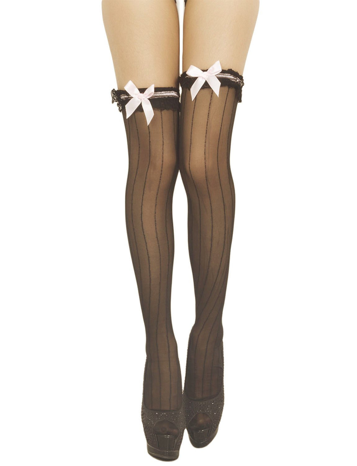 Women's Pink Bowknots Japanese Stylish Sheers Thigh High Hold-up Stockings, Size: One Size, Black