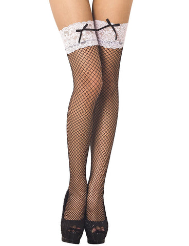 iB-iP Women's Bowknot Lace Seamless Stylish Fishnet Thigh High Hold-up Stockings