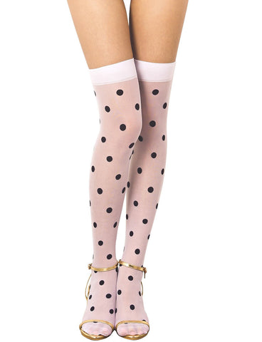 iB-iP Women's Polka Dots Seamless Stylish Stocking Thigh High Hold-up Stockings