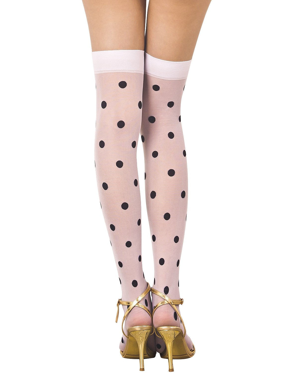 Women's Polka Dots Seamless Stylish Stocking Thigh High Hold-up Stockings, Size: One Size, Off White